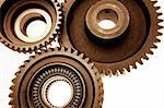 Closeup of three steel cogs Stock Photo - Royalty-Free, Artist: STILLFX                       , Code: 400-05725237