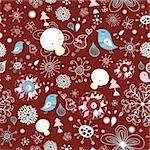 seamless graphic pattern of winter birds and snowflakes and snowmen on a dark red background Stock Photo - Royalty-Free, Artist: tanor                         , Code: 400-05725965