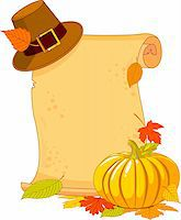 pilgrimartworks - Thanksgiving Day scroll with pilgrim hat and pumpkin Stock Photo - Royalty-Freenull, Code: 400-05726025