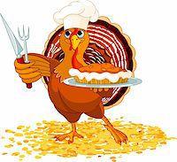 Thanksgiving turkey serving pumpkin pie Stock Photo - Royalty-Freenull, Code: 400-05726028