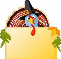 Cartoon turkey over blank sign Stock Photo - Royalty-Freenull, Code: 400-05726029