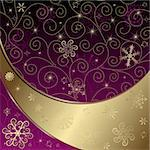 Christmas gold and purple frame with curls and snowflakes and stars (vector) Stock Photo - Royalty-Free, Artist: OlgaDrozd                     , Code: 400-05728066