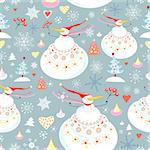 seamless pattern of winter fun snowmen on a blue background with snowflakes and Christmas trees Stock Photo - Royalty-Free, Artist: tanor                         , Code: 400-05728082
