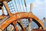 Ship wooden double steering wheel