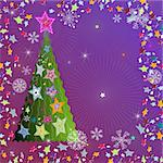 Christmas violet frame with tree, stars and snowflakes (vector) Stock Photo - Royalty-Free, Artist: OlgaDrozd                     , Code: 400-05728271