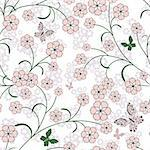 Repeating white floral pattern with pink flowers and  butterflies (vector) Stock Photo - Royalty-Free, Artist: OlgaDrozd                     , Code: 400-05728273
