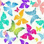 Seamless pattern of colorful butterflies against the background of scrollwork (vector EPS 10)