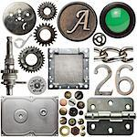 Screw heads, cogs, frames and other metal details Stock Photo - Royalty-Free, Artist: donatas1205                   , Code: 400-05728644