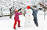 snowman and kids Stock Photo - Royalty-Free, Artist: jordache                      , Code: 400-05728814