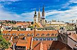 Capital of Croatia Zagreb - view from upper town, catherdral and church Stock Photo - Royalty-Free, Artist: xbrchx                        , Code: 400-05728837