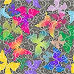 Seamless gray pattern with colorful transparent butterflies and curls (vector EPS 10) Stock Photo - Royalty-Free, Artist: OlgaDrozd                     , Code: 400-05729112