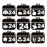set of 9 black thanksgiving day calendar icons Stock Photo - Royalty-Freenull, Code: 400-05729120