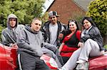 Gang Of Youths Sitting On Cars Stock Photo - Royalty-Free, Artist: MonkeyBusinessImages          , Code: 400-05729510
