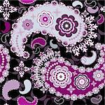 Black seamless floral pattern with gray and purple paisley (vector) Stock Photo - Royalty-Free, Artist: OlgaDrozd                     , Code: 400-05729717