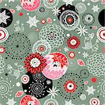 seamless bright floral pattern on a gray background Stock Photo - Royalty-Free, Artist: tanor                         , Code: 400-05729740