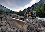 Excavator in the mountains at a stone quarry Stock Photo - Royalty-Free, Artist: ckkeller                      , Code: 400-05730075