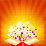 Colorful Gift Red Box, Vector Illustration
