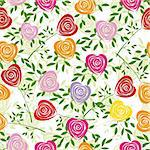 Multicoloured art vector heart, rose pattern. Seamless flower background pattern. Fabric texture. Floral vintage design. Pretty cute wallpaper. Romantic cartoon feminine filigree tile.