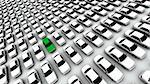 Hundreds of generic cars. The mystery car is green. DOF, focus is on green car. Stock Photo - Royalty-Free, Artist: eyeidea                       , Code: 400-05730439