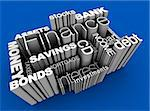 3D illustration of various financial words on blue background.   Stock Photo - Royalty-Free, Artist: eyeidea                       , Code: 400-05730462
