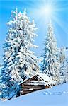 winter calm mountain landscape with shed and sunshine in blue sky (Kukol Mount, Carpathian Mountains, Ukraine) Stock Photo - Royalty-Free, Artist: Yuriy                         , Code: 400-05730569