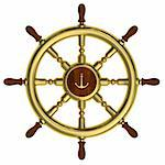 Render of golden nautical steering wheel isolated on white background Stock Photo - Royalty-Free, Artist: LostINtrancE                  , Code: 400-05731140