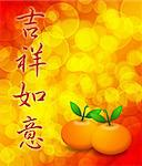 Mandarin Oranges with Your Wishes Come True Chinese Text Calligraphy Stock Photo - Royalty-Free, Artist: jpldesigns                    , Code: 400-05731224