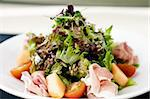 Green salad with Parma ham and melon Stock Photo - Royalty-Free, Artist: mtoome                        , Code: 400-05731309