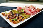 Snacks of vodka (choice of Italian meat, mushrooms and marinated pickles) Stock Photo - Royalty-Free, Artist: mtoome                        , Code: 400-05731317