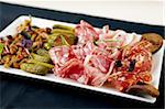 Snacks of vodka (choice of Italian meat, mushrooms and marinated pickles) Stock Photo - Royalty-Free, Artist: mtoome                        , Code: 400-05731318