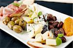 Snacks selection for wines (Parma ham, olives, cheese) Stock Photo - Royalty-Free, Artist: mtoome                        , Code: 400-05731321