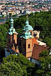 St. Lawrence Church on the Petrin hill, Prague, Czech Republic; view from above.