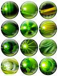 12 green spheres with of fantasy with reflections and terrestrial globes Stock Photo - Royalty-Free, Artist: catalby                       , Code: 400-05731825