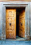 Wooden Open Door with Knockers In The Form Of a Lion's Head Stock Photo - Royalty-Free, Artist: gkuna                         , Code: 400-05732135