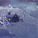 Christmas vector series with copyspace. Winter landscape with wooden cottage in high mountains. Frozen snow and pine forest with slopes in the background Stock Photo - Royalty-Free, Artist: mythja                        , Code: 400-05732369