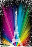 vector card with eiffel tower on a rainbow background Stock Photo - Royalty-Free, Artist: BooblGum                      , Code: 400-05732393