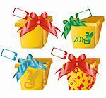 4 vector gift boxes with color bows Stock Photo - Royalty-Free, Artist: sateda                        , Code: 400-05732623