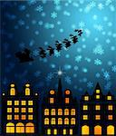 Santa Sleigh Reindeer Flying Over Victorian Houses on Snowy Night Illustration Stock Photo - Royalty-Free, Artist: jpldesigns                    , Code: 400-05732786