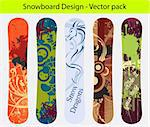 Snowboard design pack - five full editable designs - vector Illustration