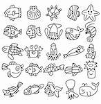 hand draw aquarium fish icons set   Stock Photo - Royalty-Free, Artist: notkoo2008                    , Code: 400-05732835