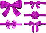 Vector set of violet gift ribbons with bows for card and decorations