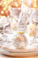 Place setting for Christmas in white and golden tone Stock Photo - Royalty-Freenull, Code: 400-05733110
