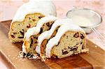 Traditional homemade stollen with dried fruits Stock Photo - Royalty-Free, Artist: Dream79                       , Code: 400-05733142