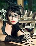 Fashion woman retro portrait in a restaurant Stock Photo - Royalty-Free, Artist: GoodOlga                      , Code: 400-05733426