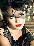 Fashion woman retro portrait in a restaurant Stock Photo - Royalty-Free, Artist: GoodOlga                      , Code: 400-05733428