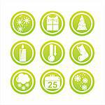 set of 9 green christmas signs Stock Photo - Royalty-Free, Artist: LxIsabelle                    , Code: 400-05733614