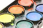 Used water color paint box on white background Stock Photo - Royalty-Free, Artist: Danicek                       , Code: 400-05733922