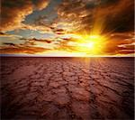 Beautiful dramatic sunrise over great dried-up salt lake Chott el Djerid in Tunisia Stock Photo - Royalty-Free, Artist: Fyletto                       , Code: 400-05734038
