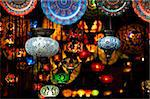 Colorful Arabic lantern and plates in a souk Stock Photo - Royalty-Free, Artist: Dutourdumonde                 , Code: 400-05734195