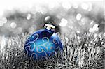 blue christmas ball on silver background Stock Photo - Royalty-Free, Artist: yellowj                       , Code: 400-05734225